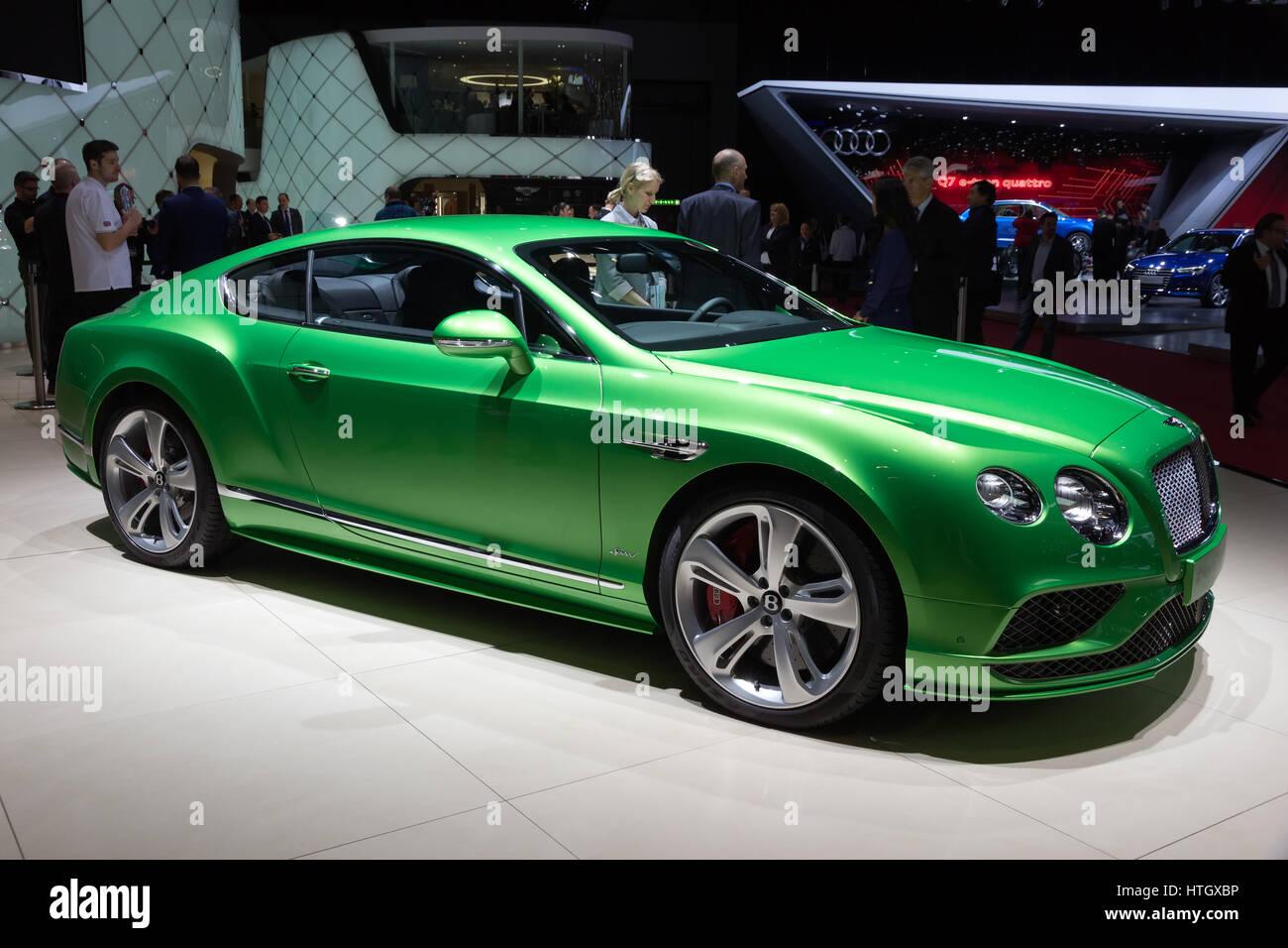 GENEVA, SWITZERLAND - MARCH 4, 2015: Bentley Continental GT Speed at ...