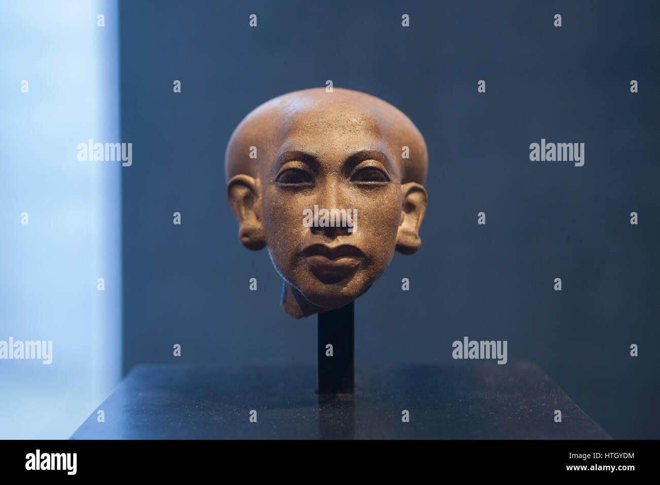 Egyptian princess. Quartzite head of a statue of one of the six daughters of Pharaoh Akhenaten and Queen Nefertiti - Stock Image