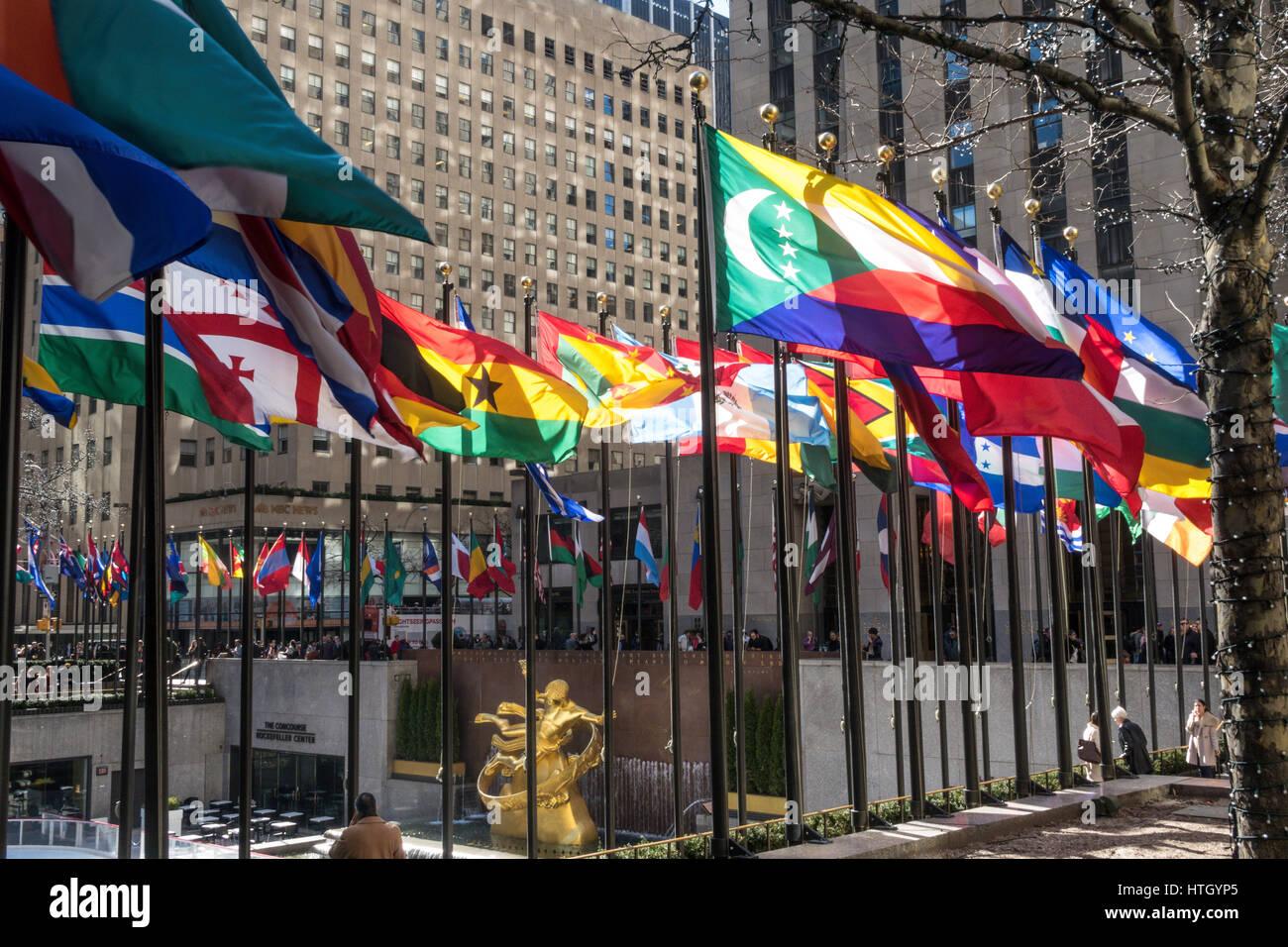 International Nation Flags Displayed at Rockefeller Center, NYC, USA - Stock Image