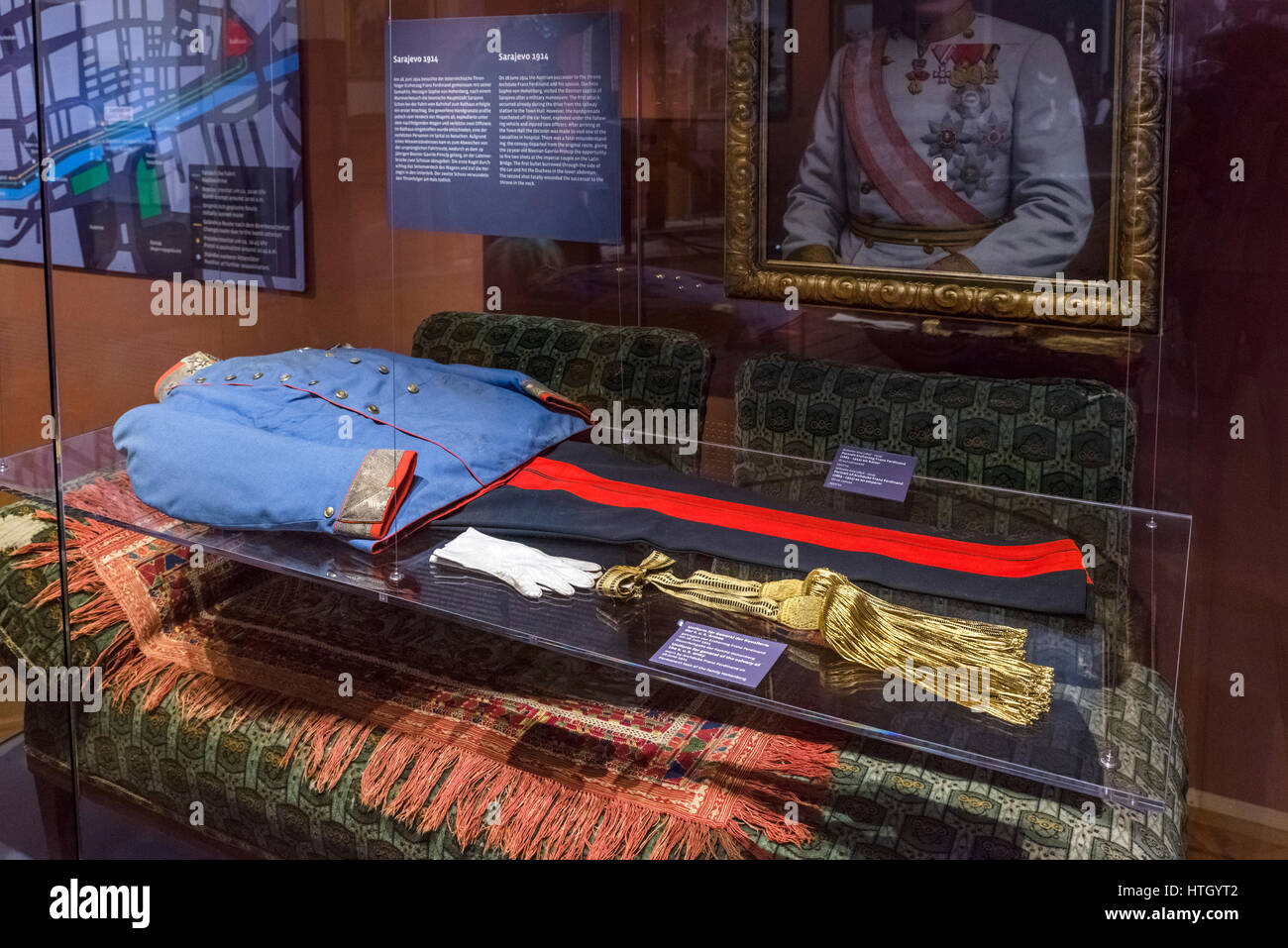 Uniform which Archduke Franz Ferdinand was wearing when he was assassinated by Gabriel Princip in Sarajevo on 28th - Stock Image