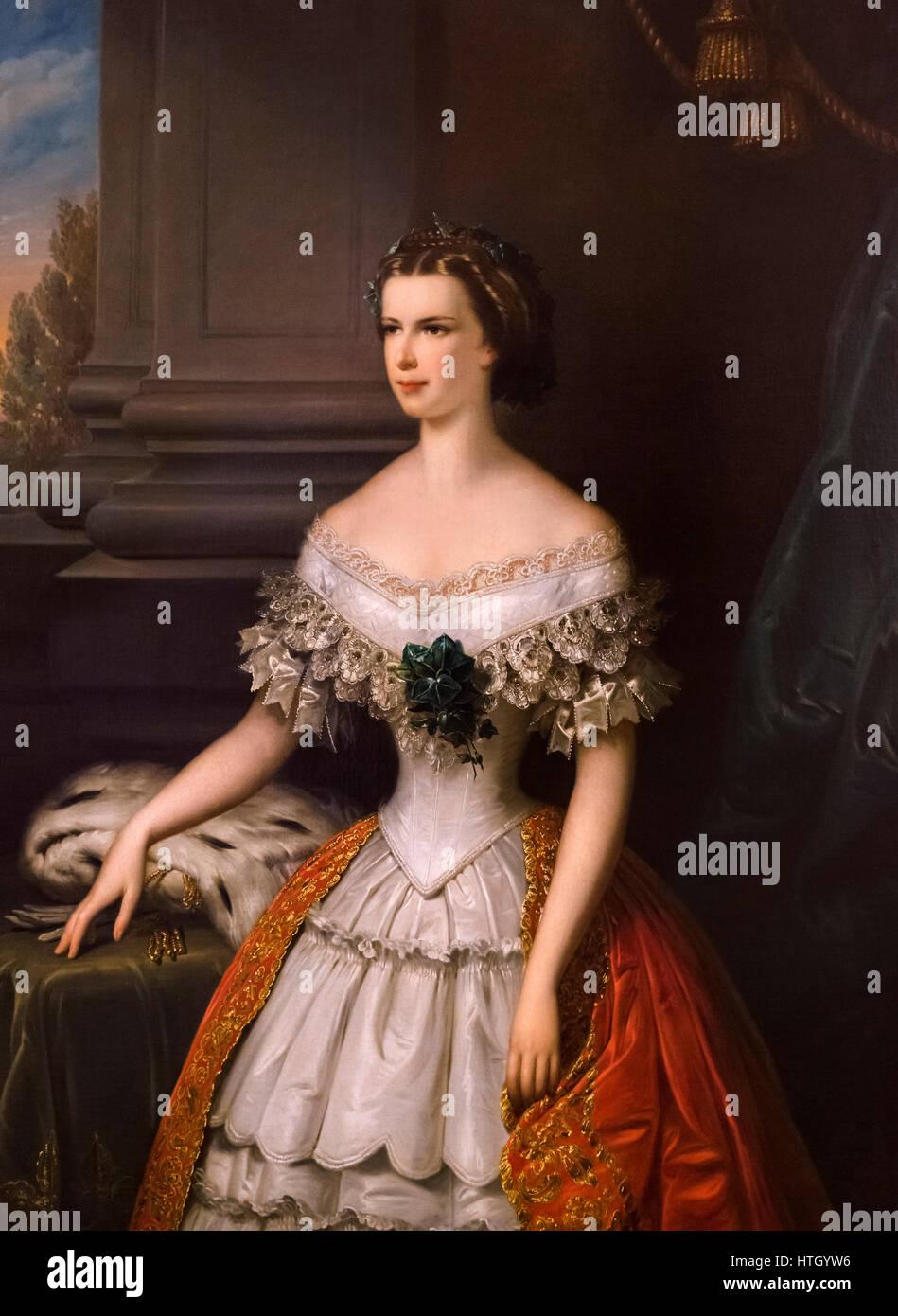 Sisi, portrait. Empress Elisabeth of Austria (1837-1898), known as Sisi, wife of Emperor Franz Joseph I. Painting - Stock Image