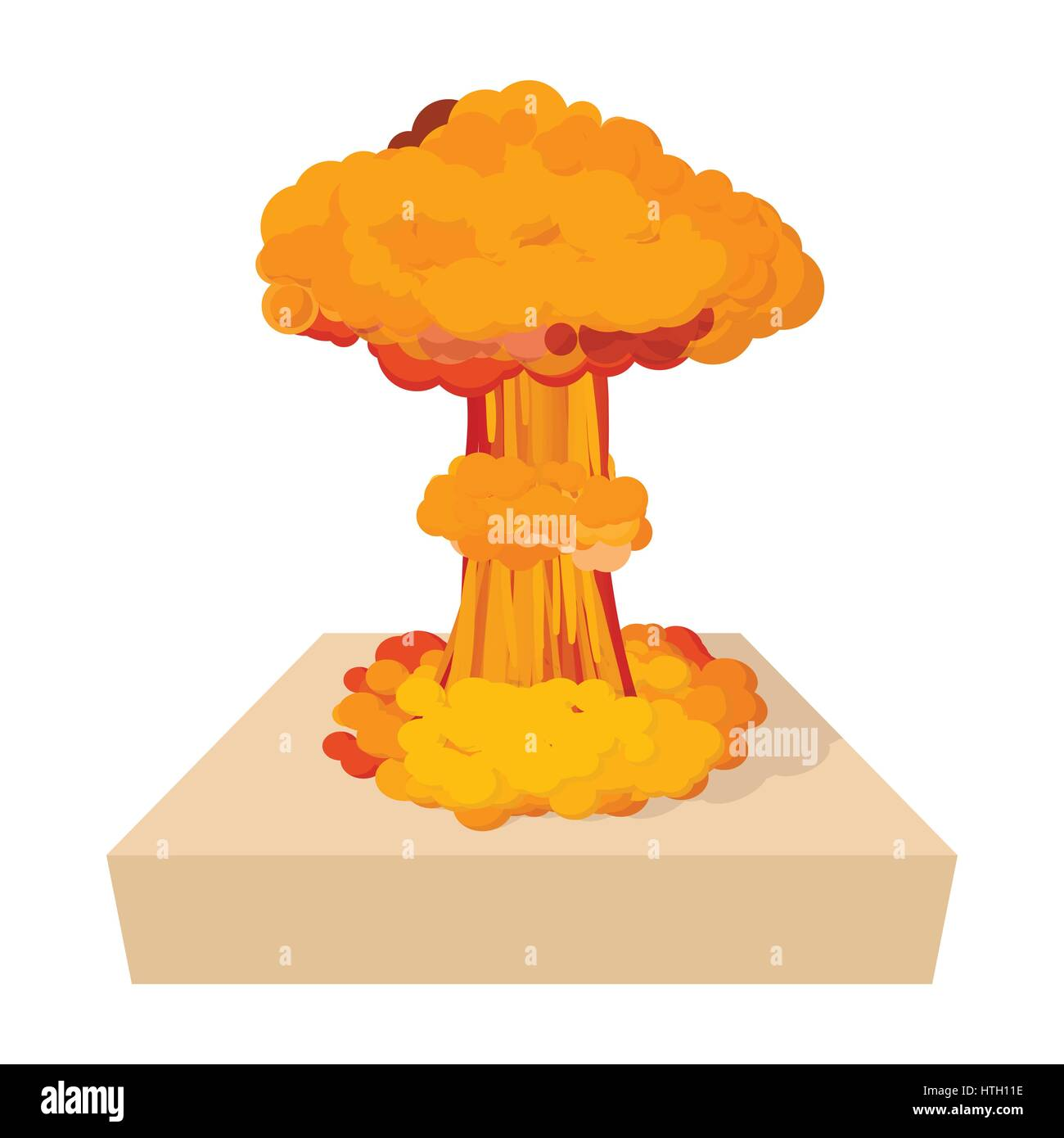 Nuclear explosion icon, cartoon style - Stock Image