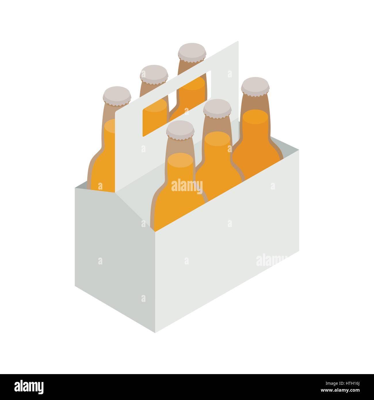 Six Bottles In A Cardboard Box With A Handle Icon Stock Vector Image Art Alamy