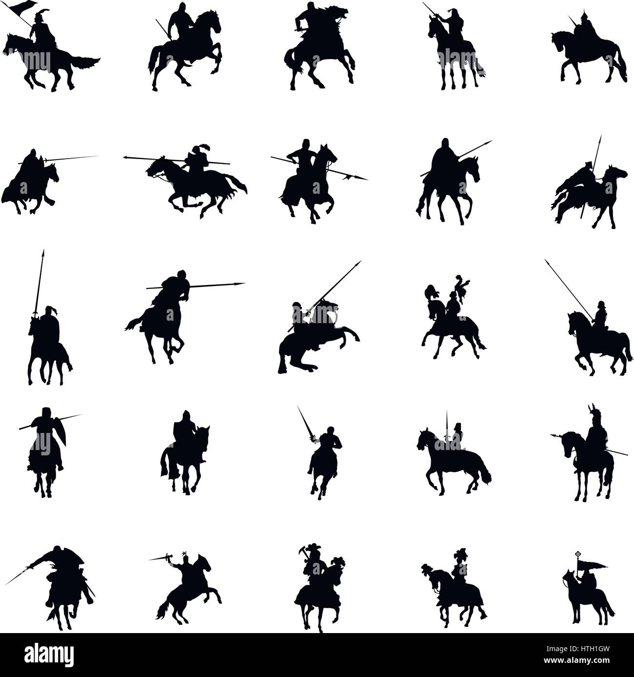 Knight and horse silhouette set - Stock Image