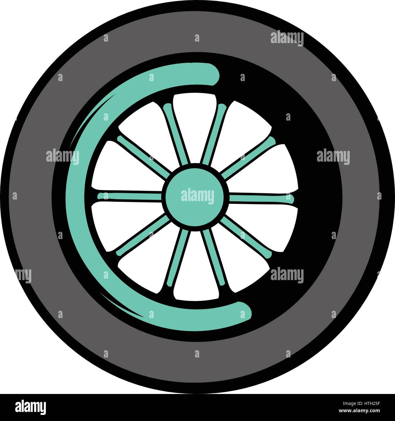 Car wheel icon, icon cartoon - Stock Vector