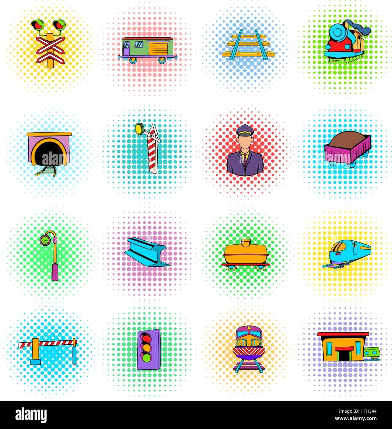 Railroad icons set, comics style - Stock Vector