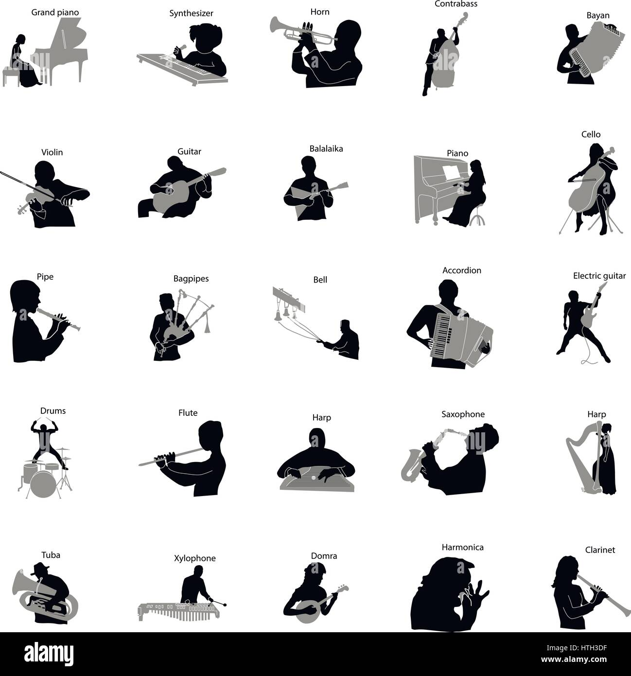 musicians silhouette set icons simple style stock vector art