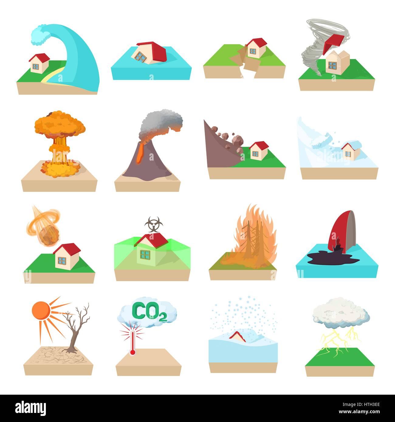Natural Disaster Icons Set Cartoon Style Stock Vector Art