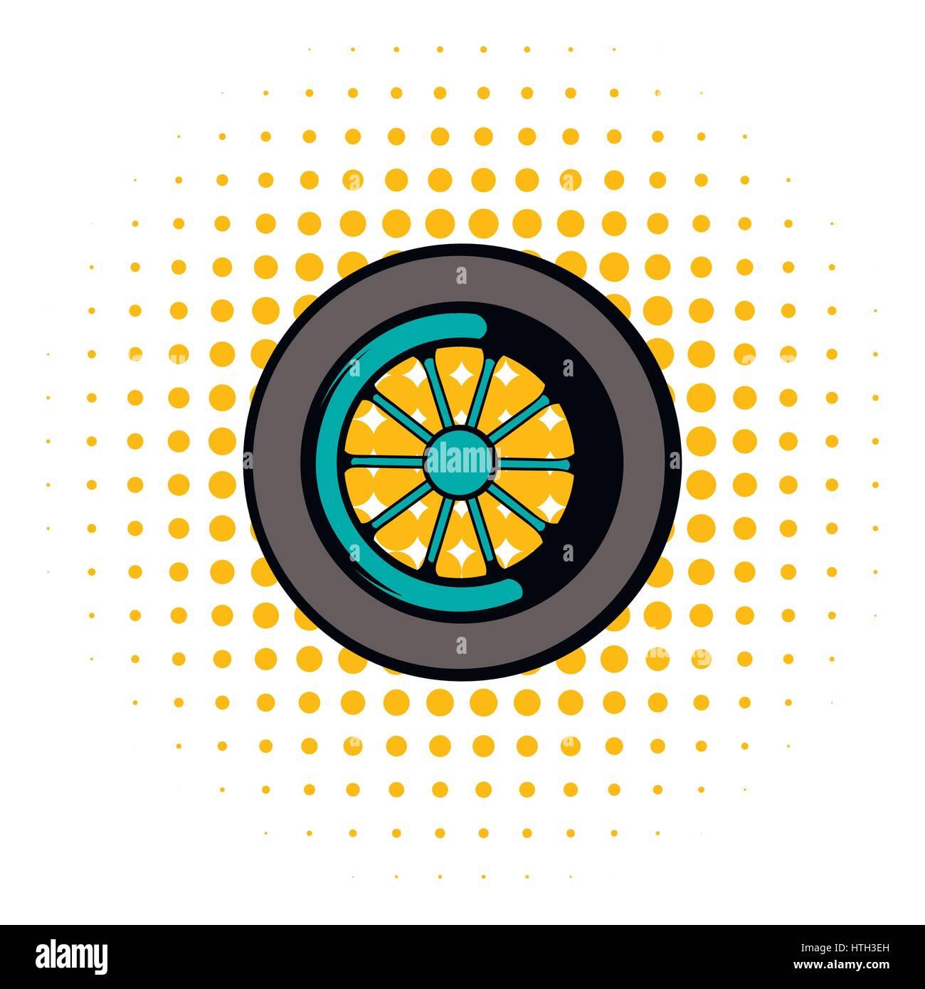 Car wheel icon, comics style - Stock Vector