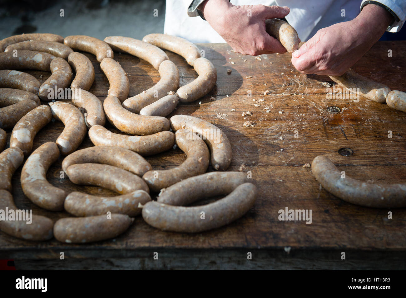 making of homemade sausages - Stock Image