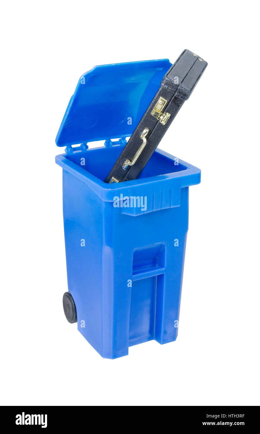 Briefcase in Recycle bin used to hold items to be reduced and reused to help the environment - path included - Stock Image