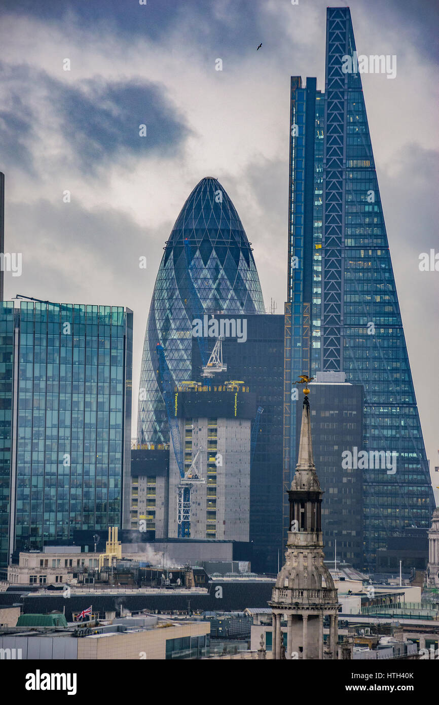 Modern architectural buildings and panoramic aerial view of urban London against a cloudy sky. View from the Dome - Stock Image