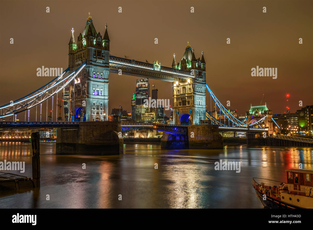 Aerial view of Tower Bridge, London, England, United Kingdom - Stock Image