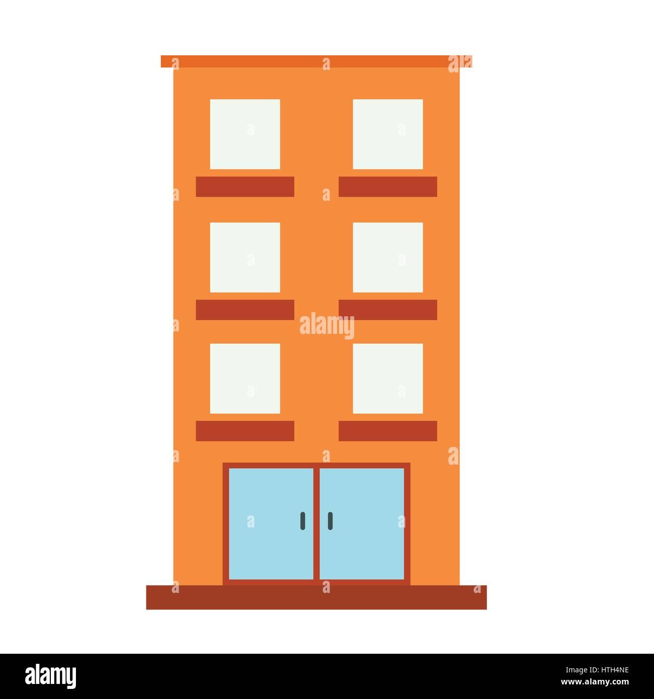 Three-storey house icon Stock Vector