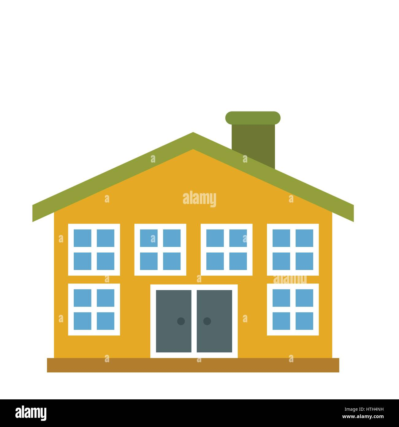 Yellow two-storey house icon  Stock Vector