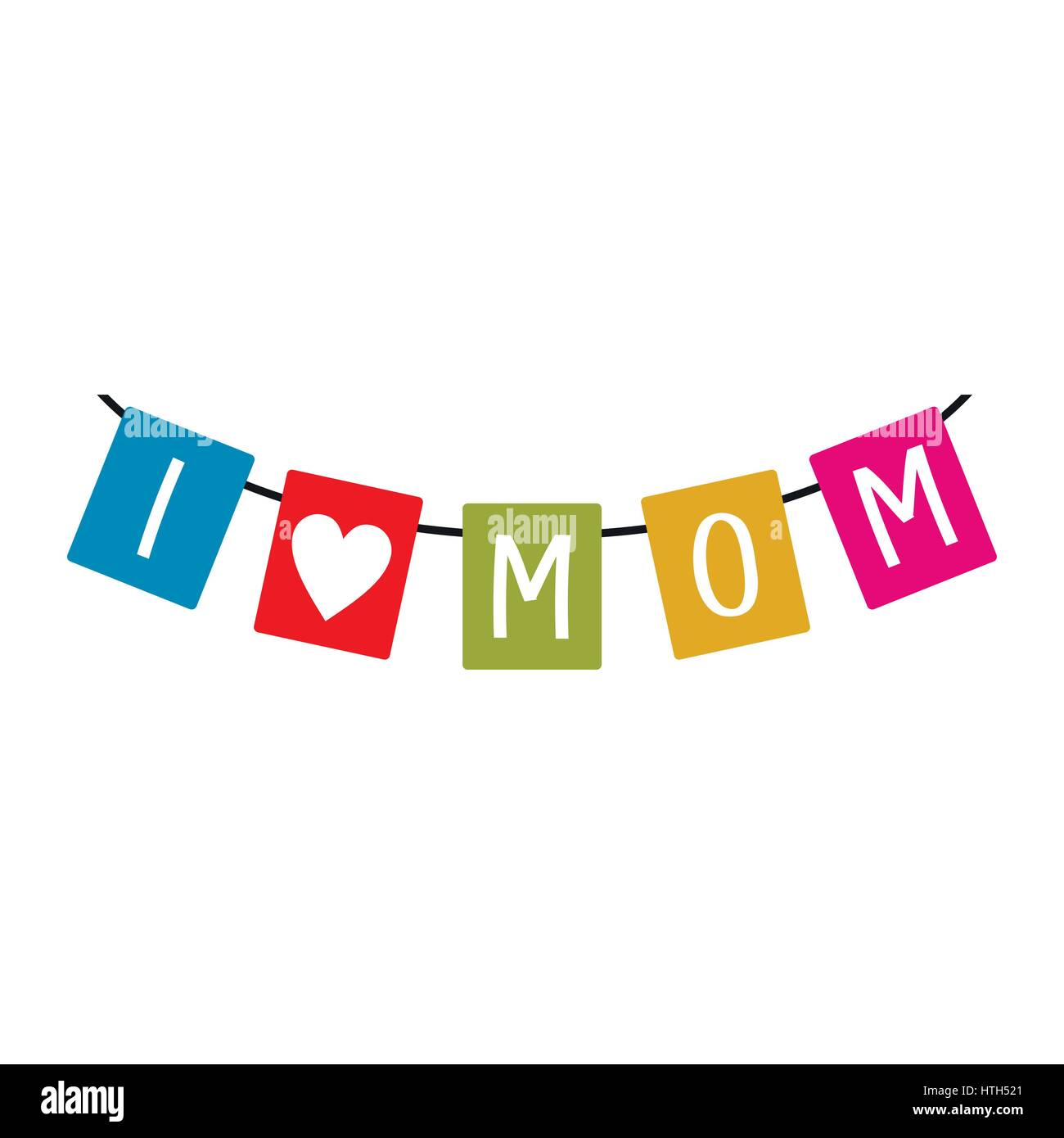 Festive Bunting Flags With Letters I Love Mom Icon Stock Vector Art
