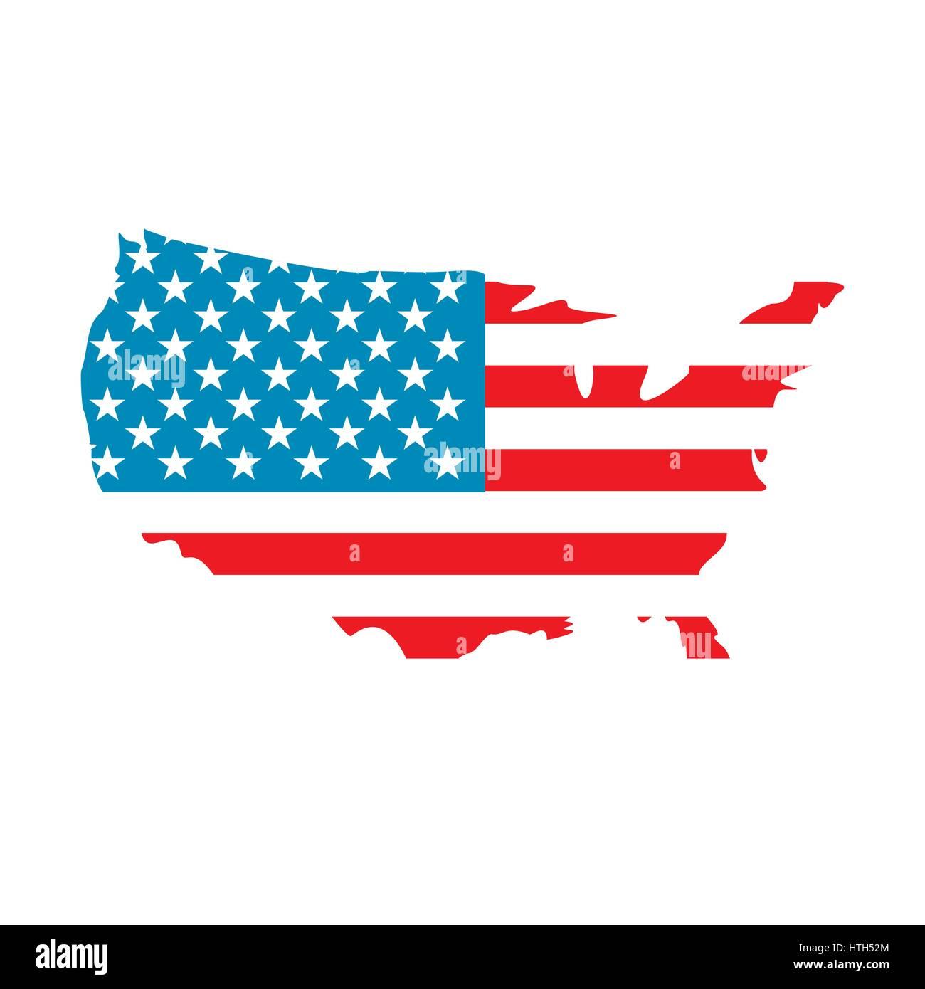 Usa Map Flag Icon Stock Vector Art Illustration Vector Image