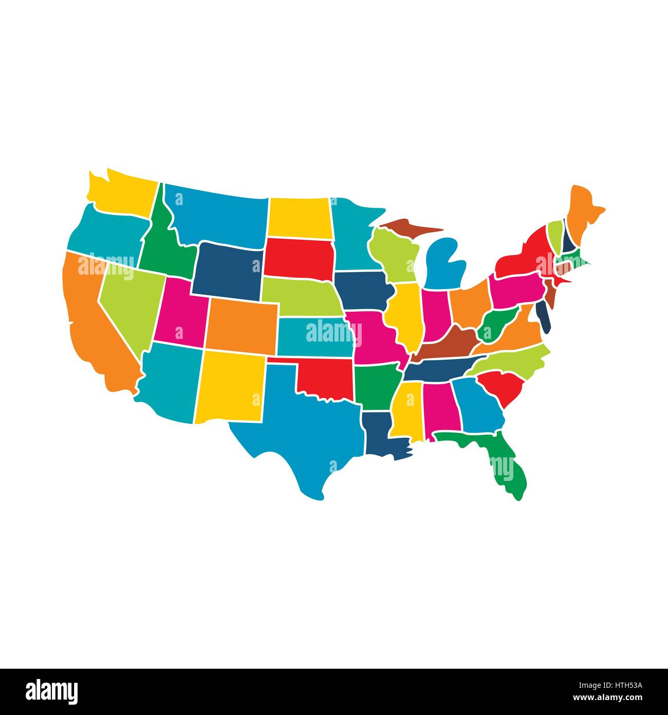Colorful Map Of Usa.Colorful Usa Map With States Icon Stock Vector Art Illustration