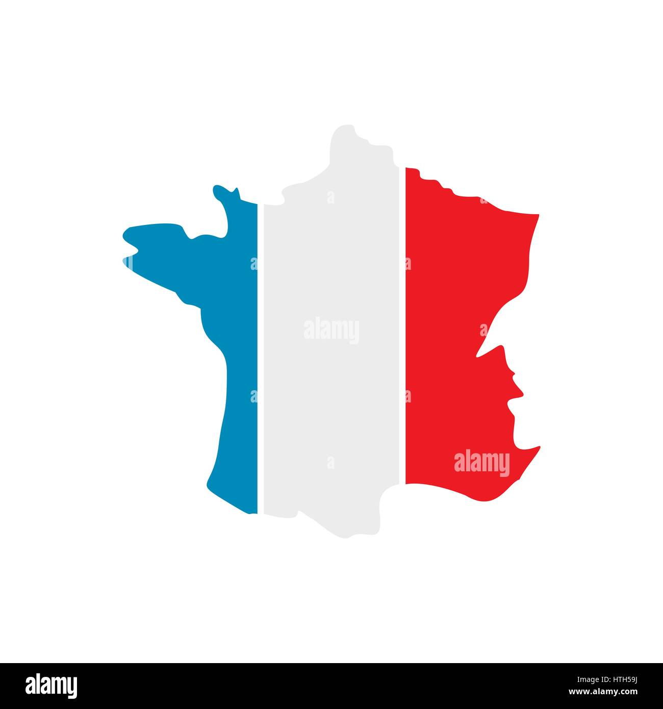 Map of the French Republic with national flag icon - Stock Image