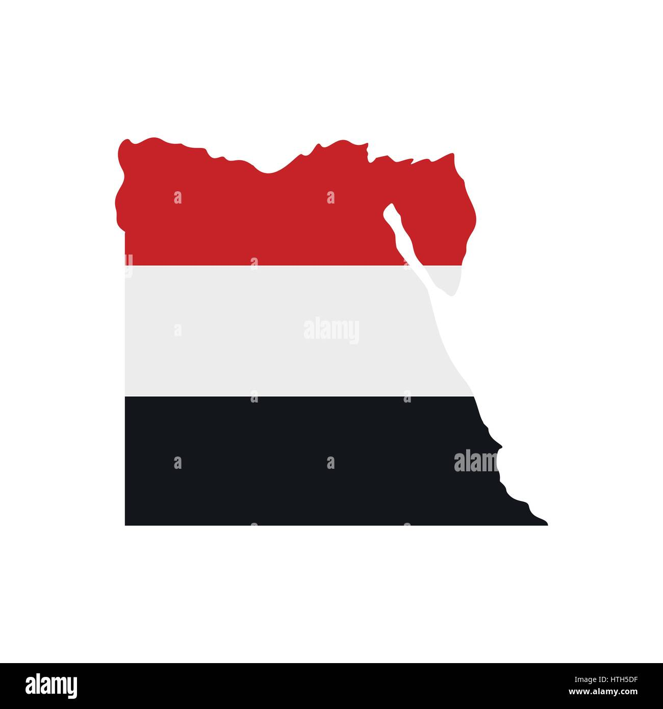 Map of Egypt with the image of the national flag - Stock Image