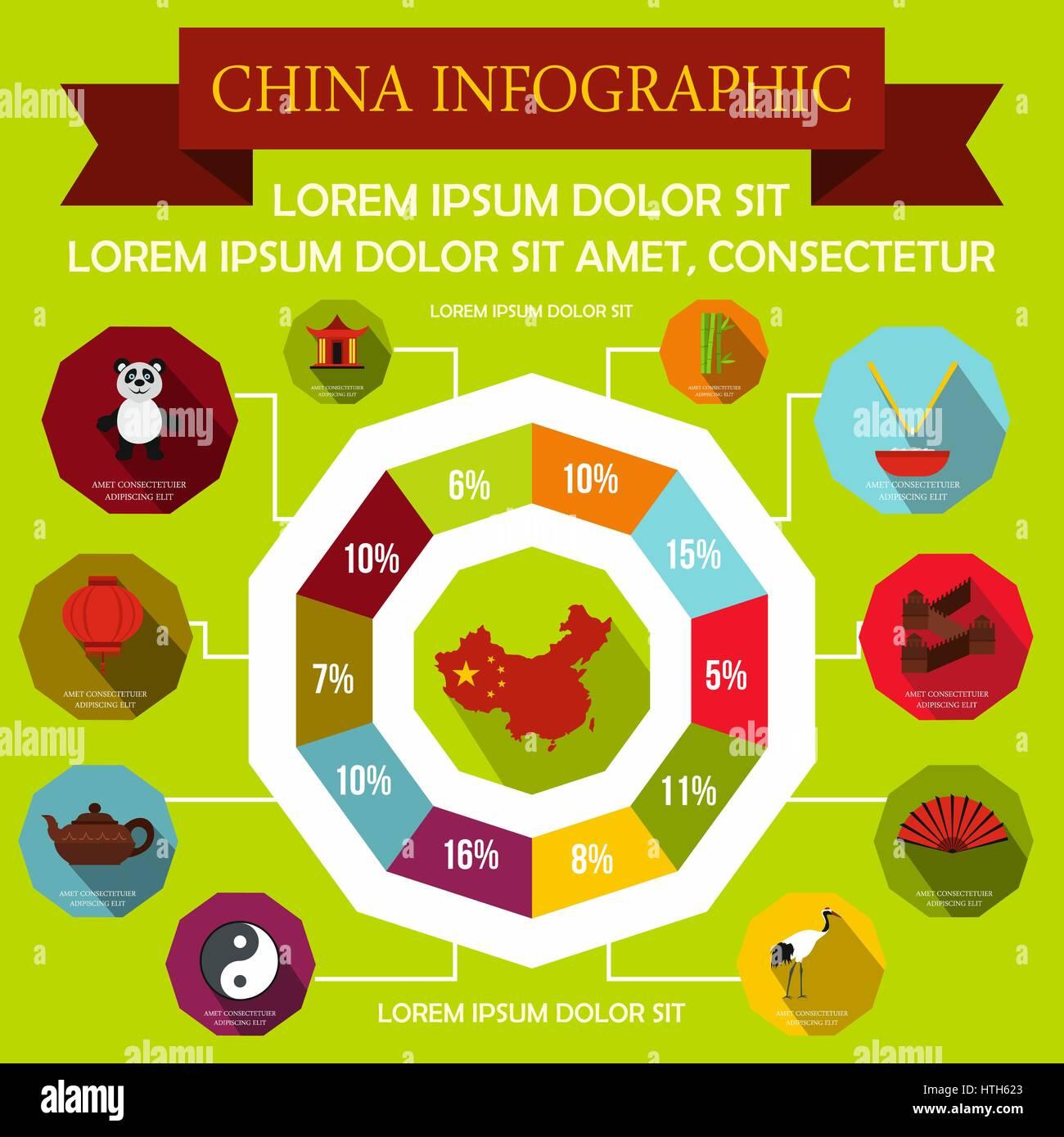 China infographic elements, flat style  - Stock Image