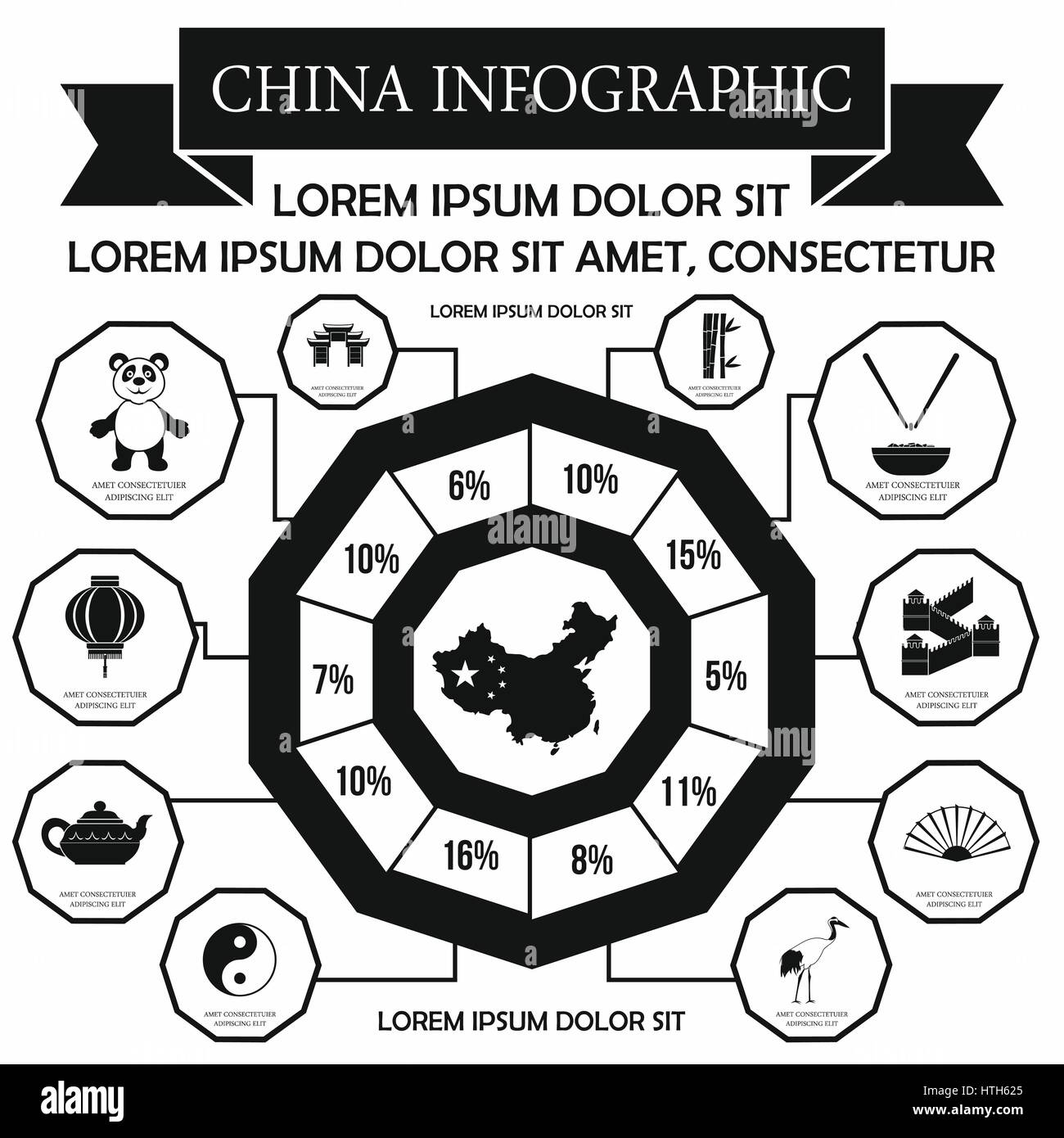 China infographic elements, simple style - Stock Image