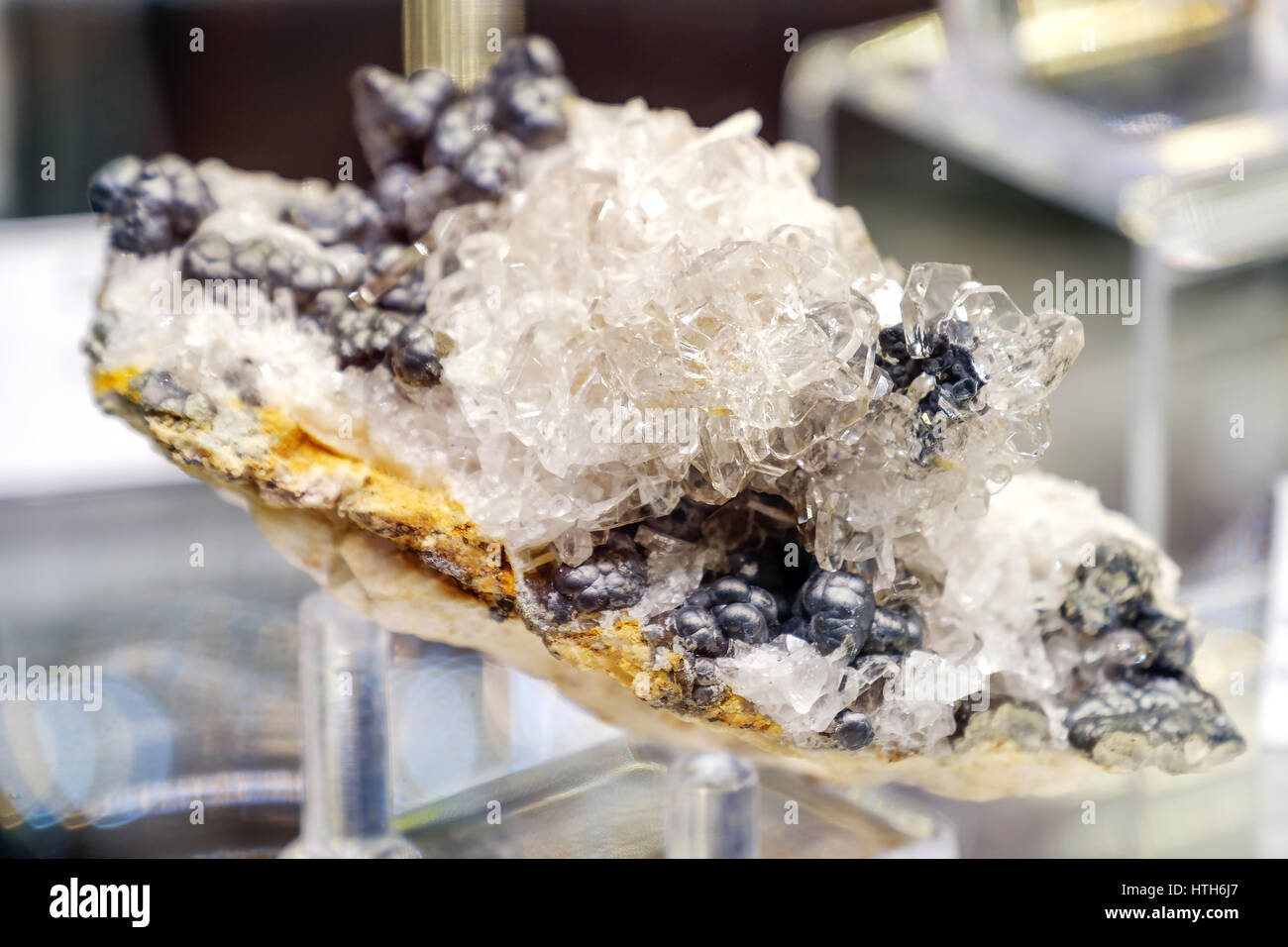barite mineral baryte goethite Stock Photo