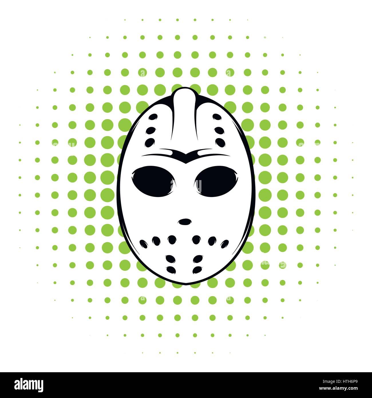 Hockey mask icon, comics style - Stock Image