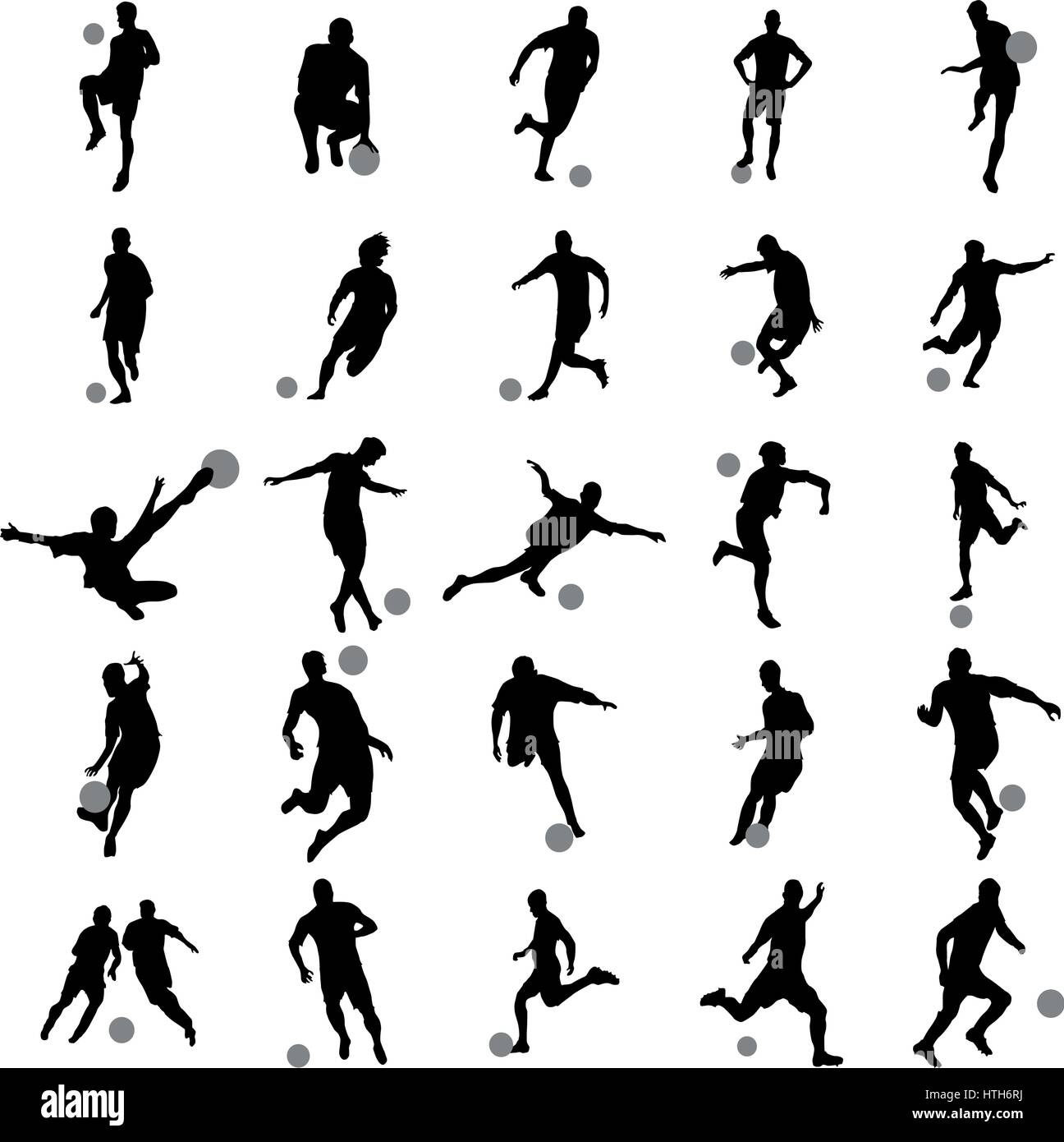Soccer player silhouette set - Stock Image
