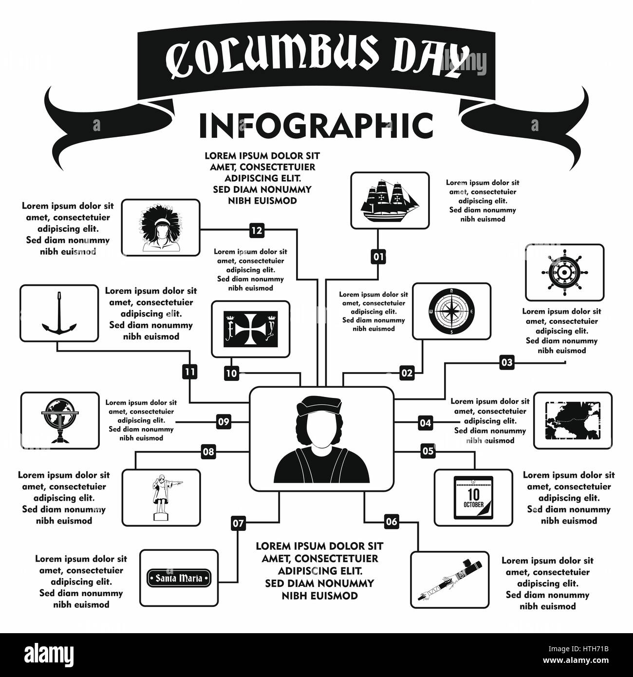 Columbus Day infographic, simple style - Stock Image