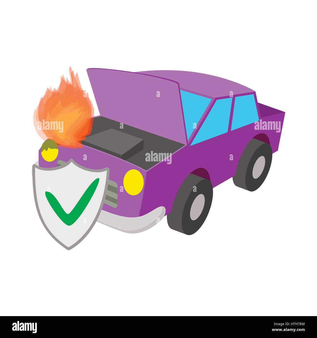 Car fired vehicle insurance icon, cartoon style Stock Vector
