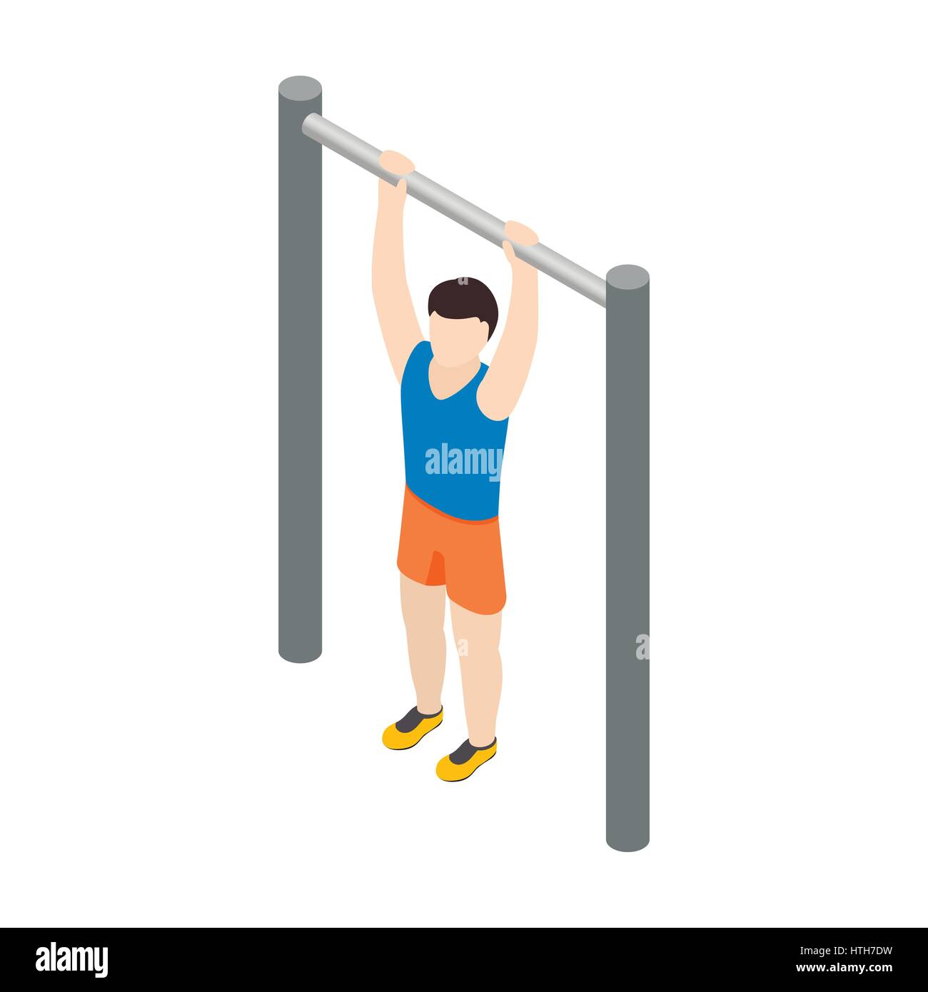 Man doing pull-up icon, isometric 3d style - Stock Image