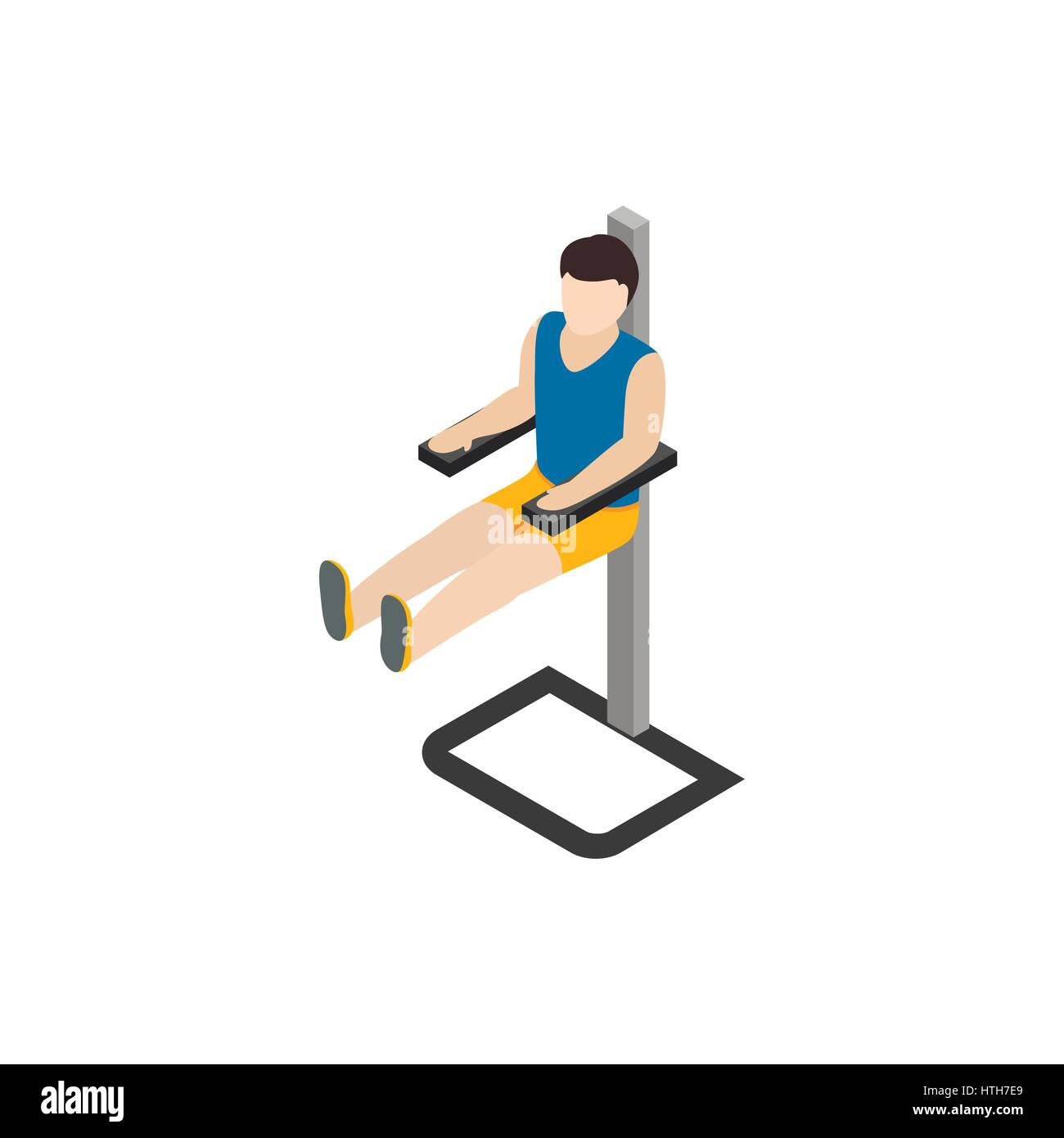 Man doing workout in gym icon, isometric 3d style - Stock Image