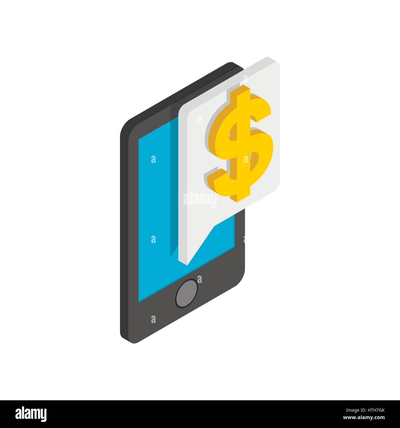 Smartphone with dollar on display icon - Stock Vector