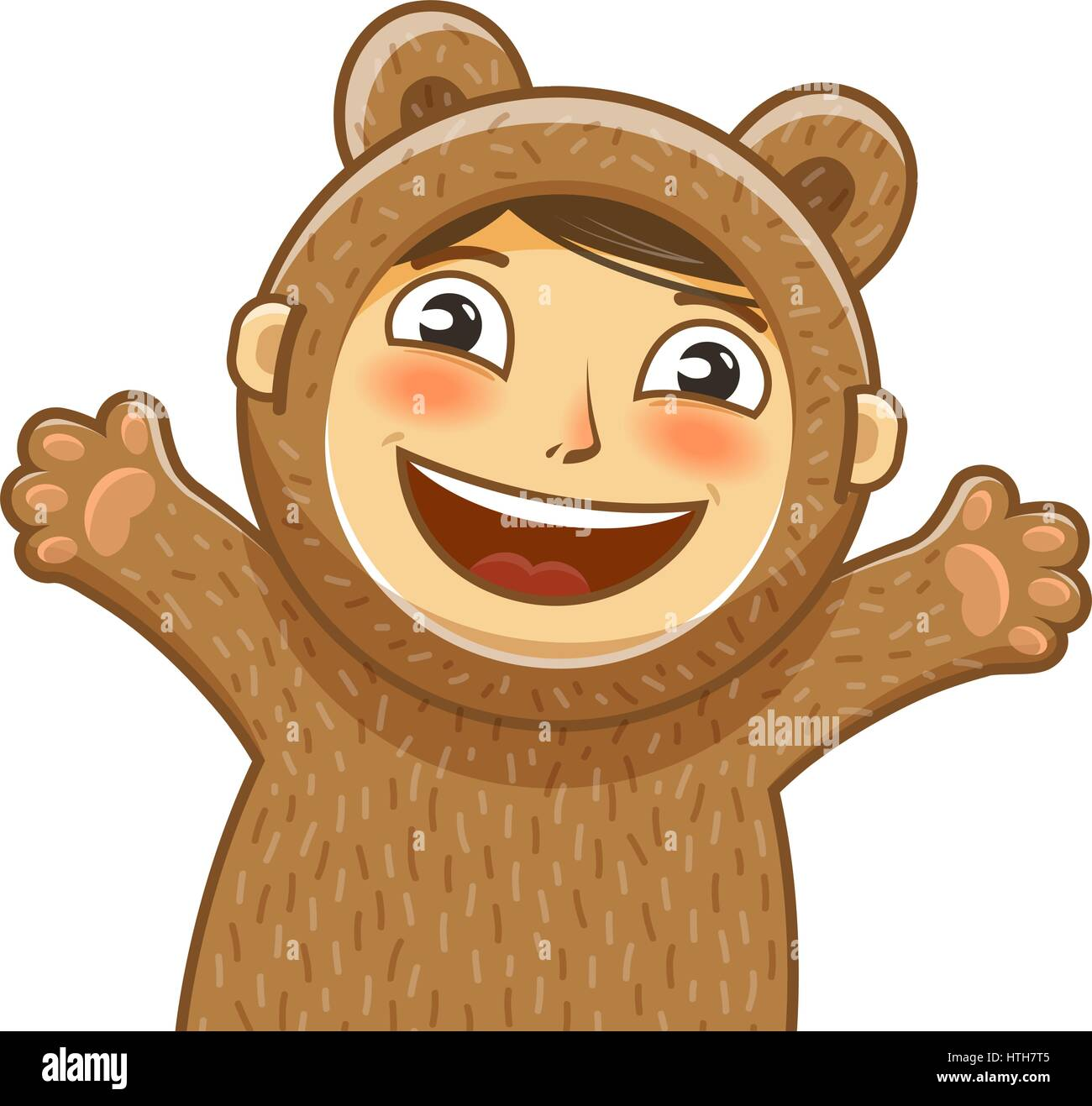 Happy child. Delight smiling kid. Baby, cartoon vector illustration - Stock Image