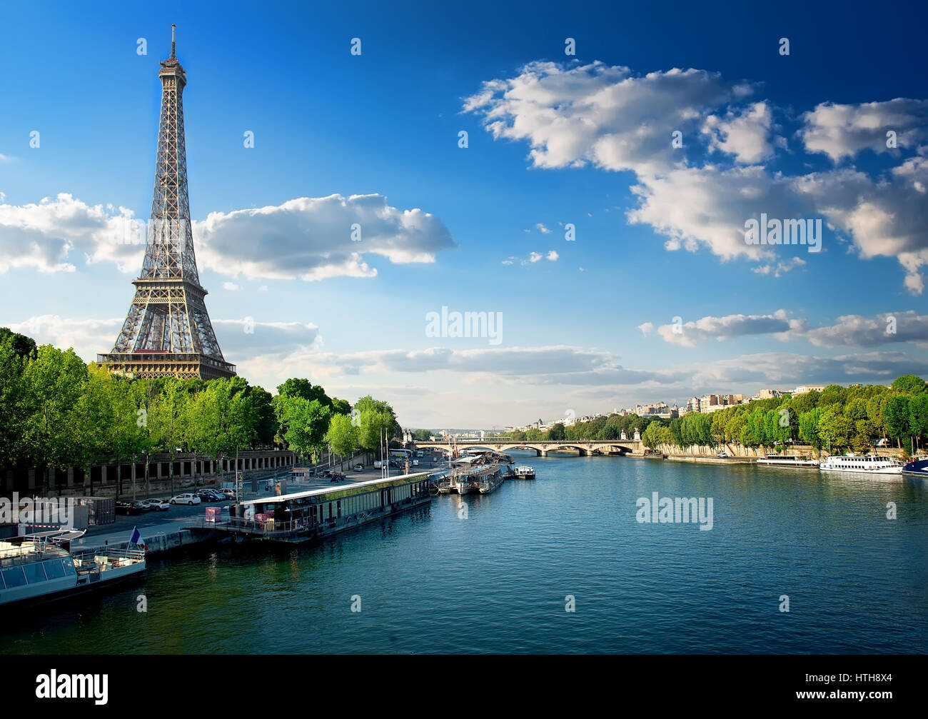 River Seine and Eiffel Tower in Paris, France - Stock Image
