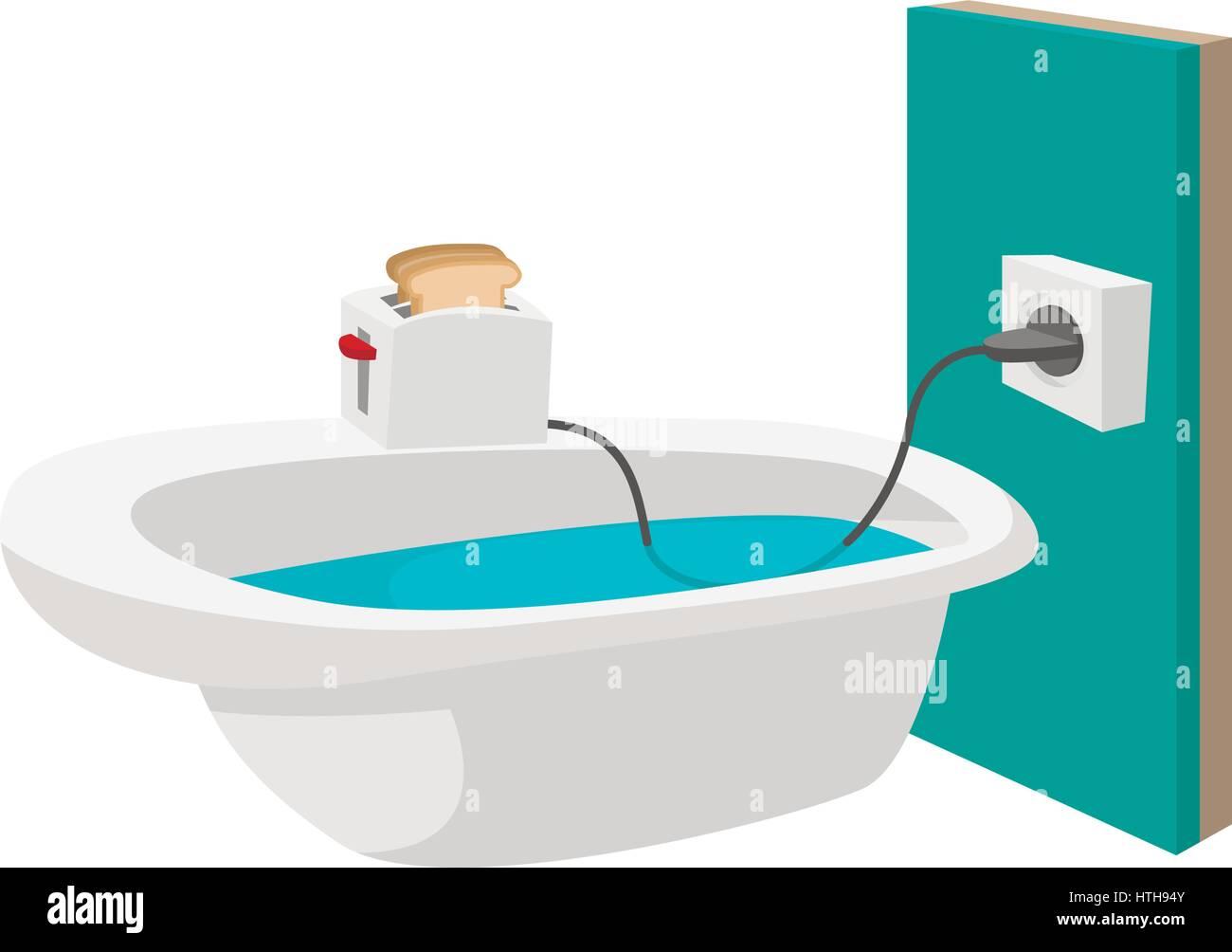 Toaster on the edge of a bathtub icon Stock Vector Art ...