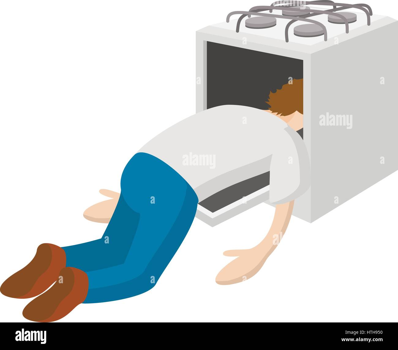 a man put his head in the oven icon cartoon style stock vector art