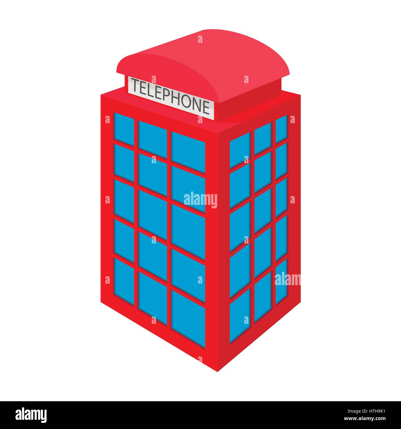 British red phone booth icon, cartoon style  - Stock Image