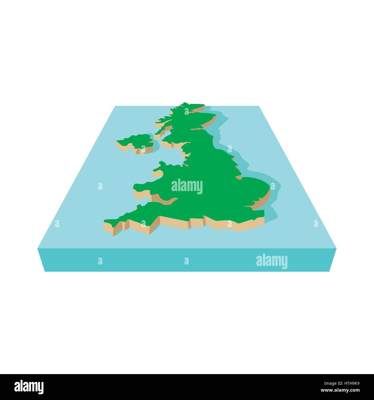 Map Of United Kingdom Icon Cartoon Style Stock Vector Art