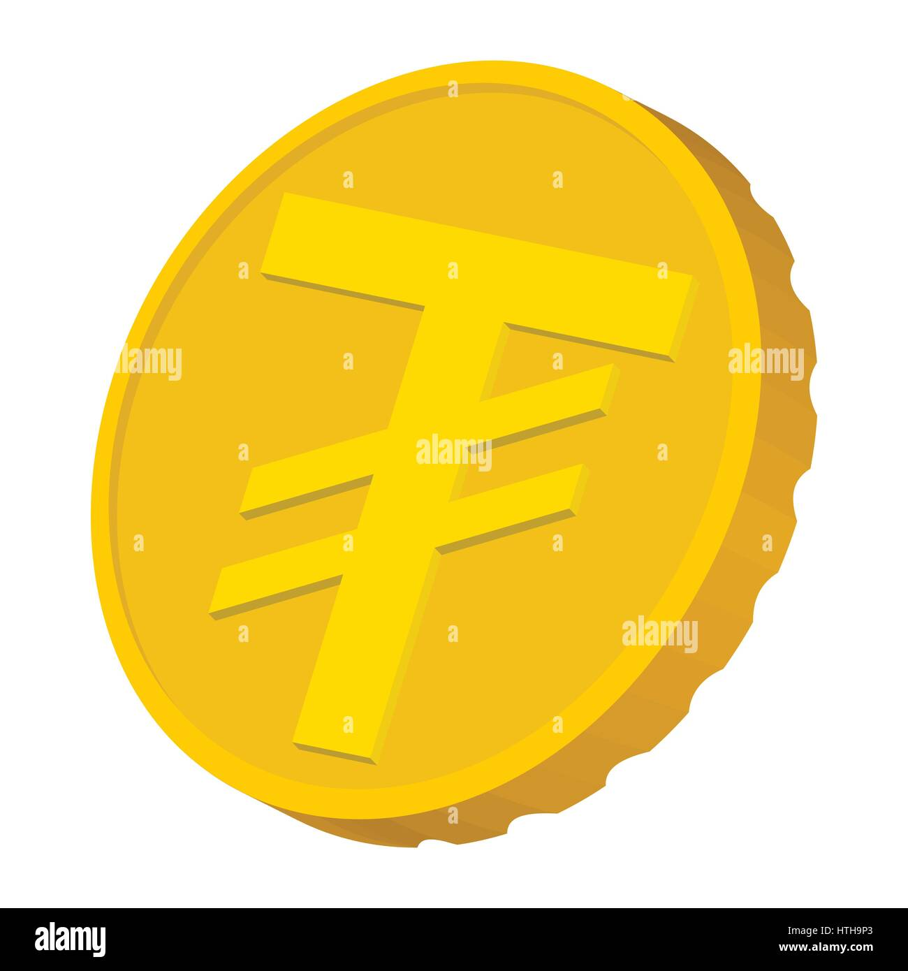 Gold coin with Mongolian Tugrik sign icon - Stock Vector