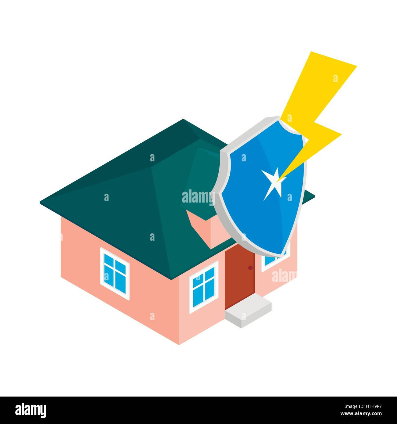House protect by shield icon, isometric 3d style - Stock Image