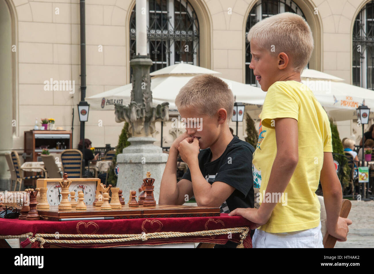 Playing chess at Rynek (Market Square) in Wroclaw, Lower Silesia, Poland - Stock Image