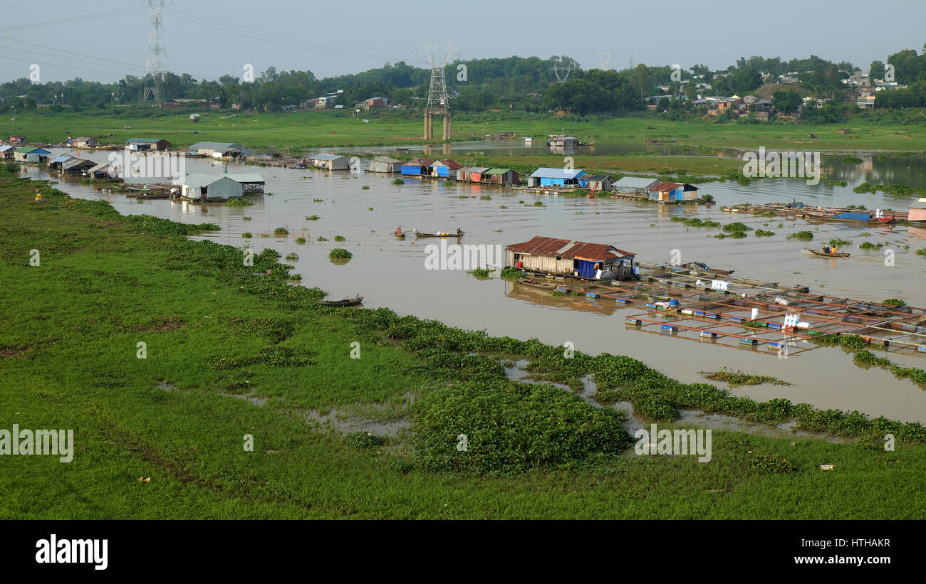 DONG NAI, VIET NAM- JUNE 5: Group of floating house on La Nga fishing village, river with green grass and hyacinth, - Stock Image