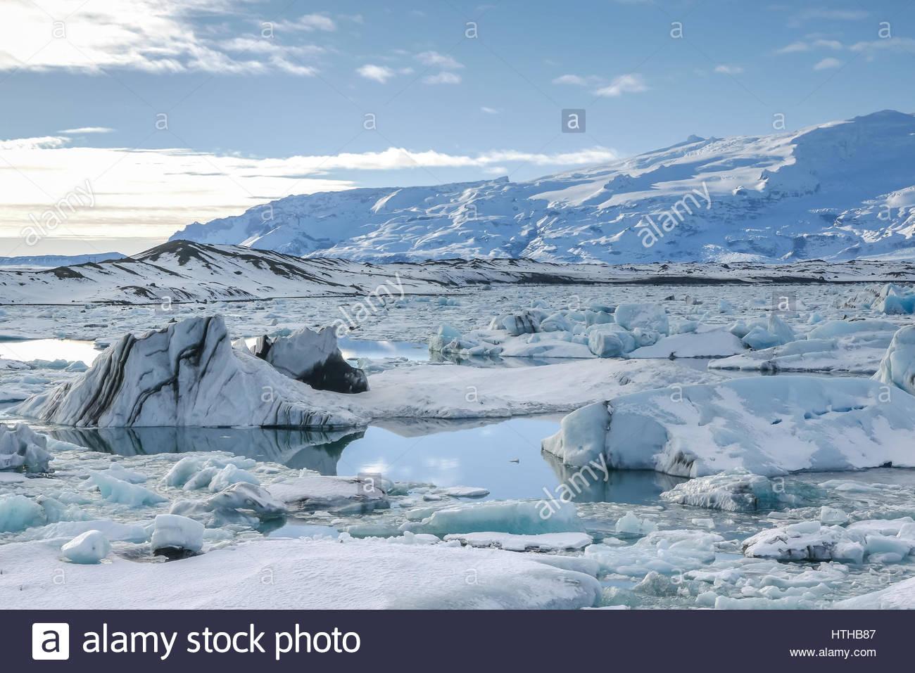 Icebergs at Jokulsarlon Glacier Lagoon, Iceland - Stock Image