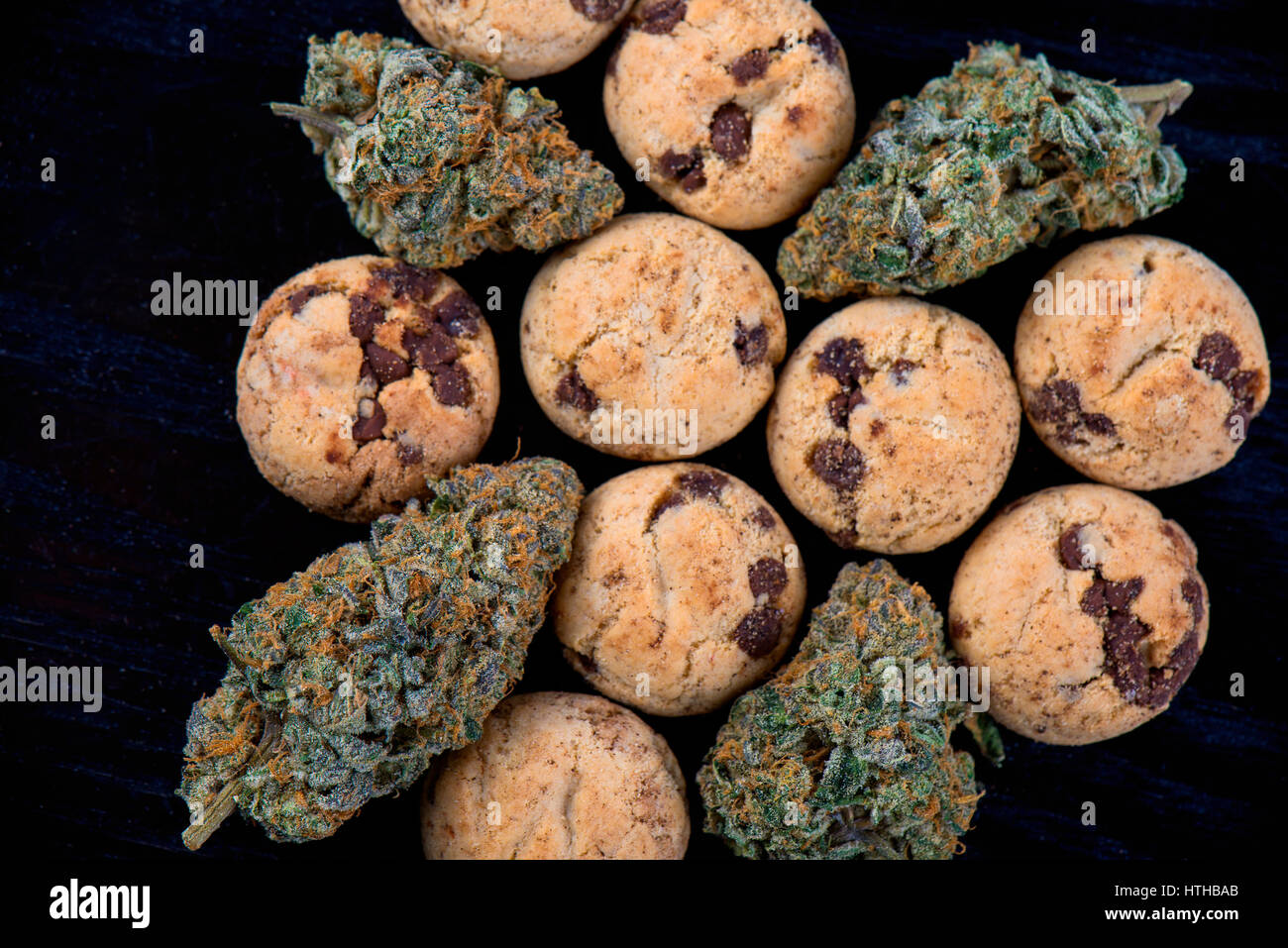 Background with cannabis nugs (forum cut cookies strain) and