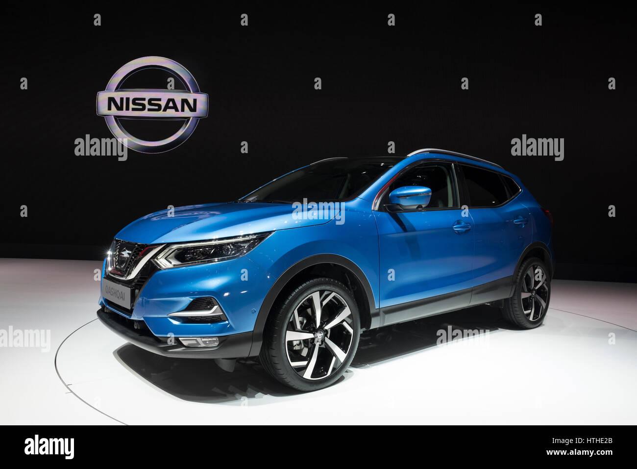 New 2018 facelift design of Nissan Qashqai at 87th Geneva International Motor Show in Geneva Switzerland 2017 - Stock Image
