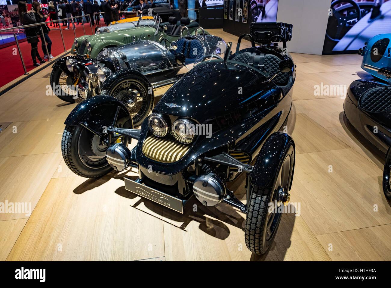 Morgan EV3 electric 3-wheeled car at 87th Geneva International Motor Show in Geneva Switzerland 2017 - Stock Image