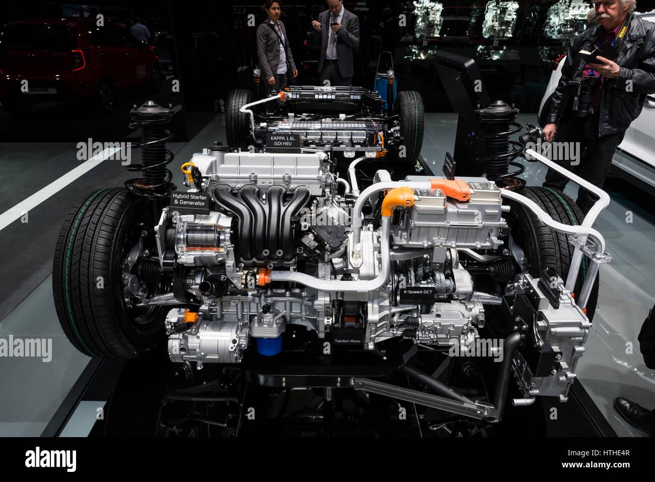 Kia Niro Plug In >> Kia Niro plug-in hybrid powertrain display at 87th Geneva Stock Photo: 135608615 - Alamy