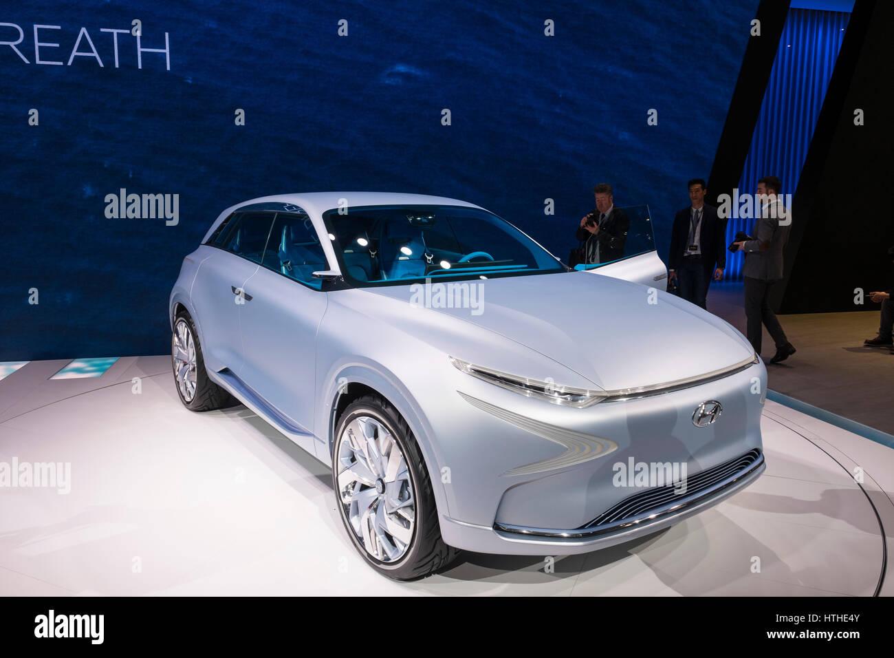 Hyundai FE concept - new Fuel cell SUV at 87th Geneva International Motor Show in Geneva Switzerland 2017 - Stock Image